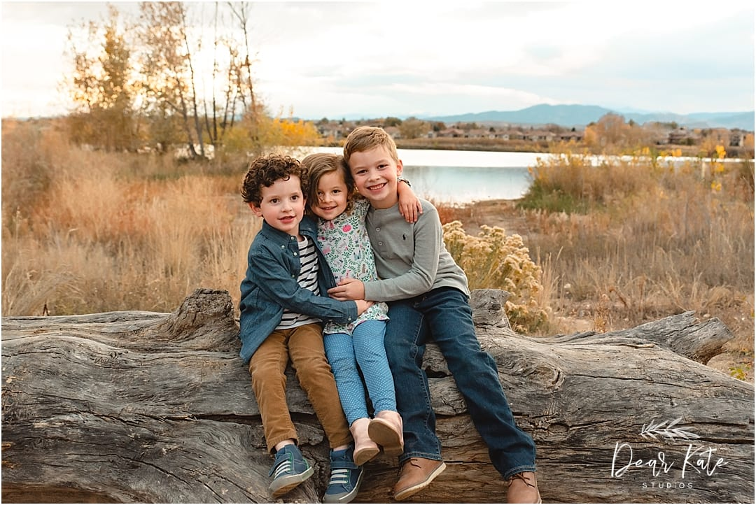 Three kids family pictures loveland colorado