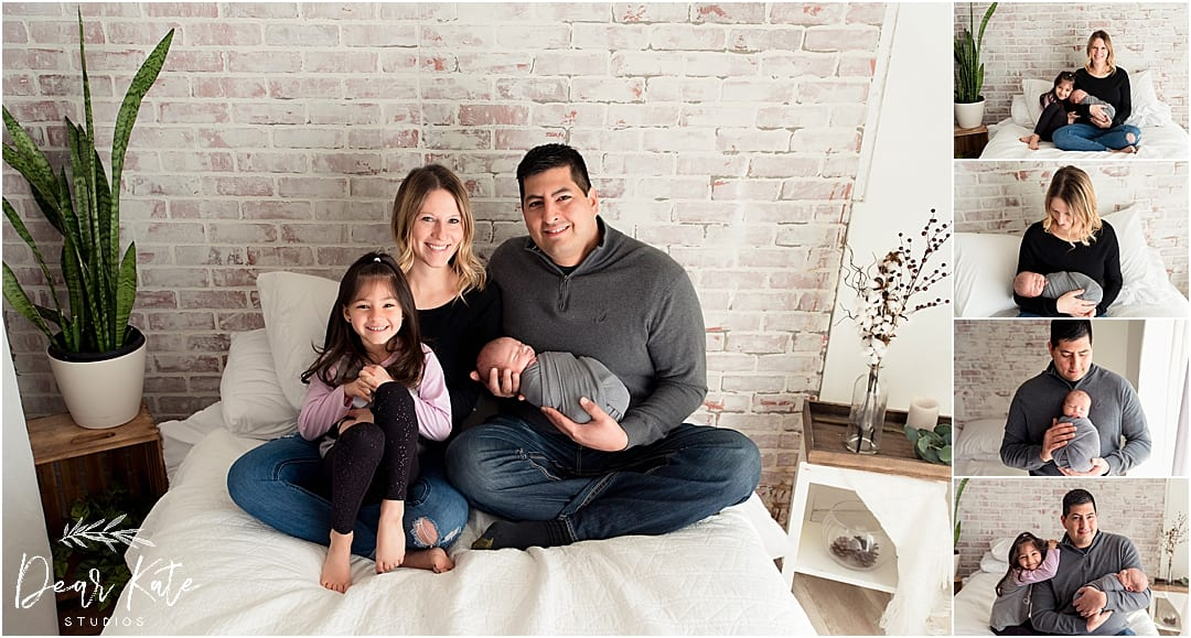 Lifestyle newborn family photos with new baby in Loveland photography studio