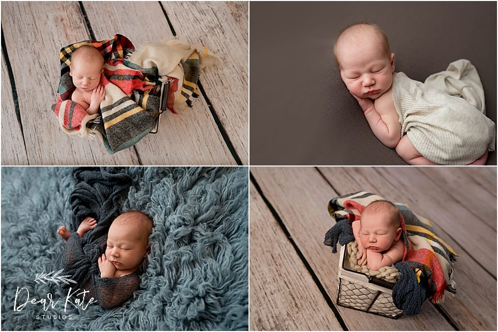 Posed newborn pictures baby boy on wood floor