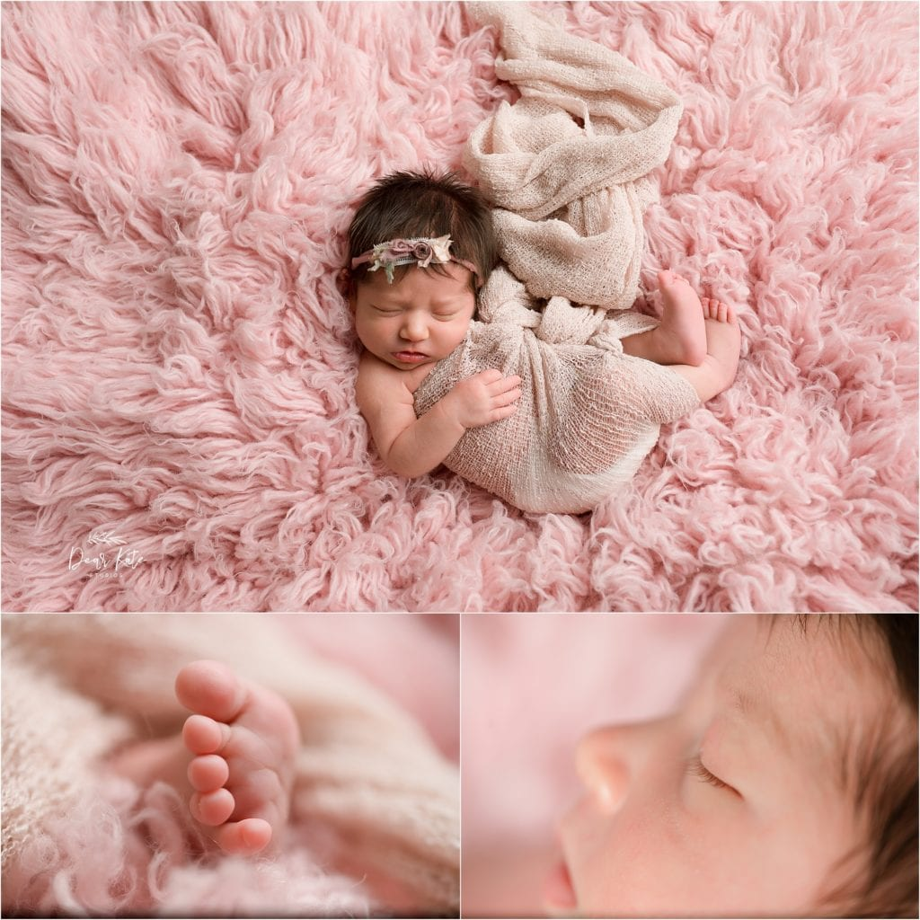 Newborn studio photos with macro details of eyelashes and toes