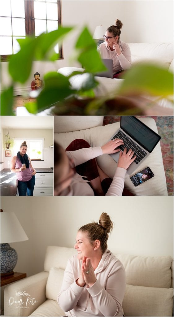woman at computer, in kitchen, lifestyle brand images