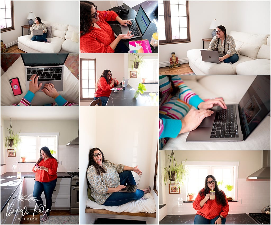 personal branding photos, woman with computer in office, lifestyle