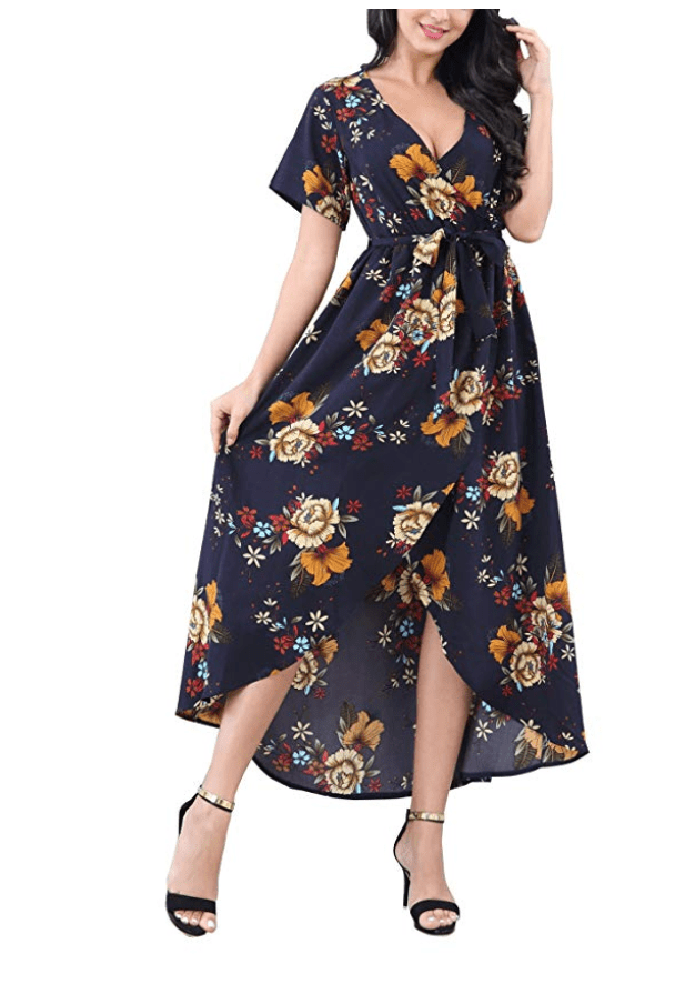 what to wear for family pictures wrap dress, navy with floral print in pops of burgandy and mustard